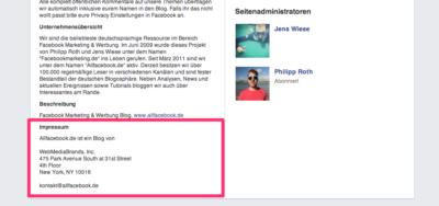 Breaking! Facebook führt ein Impressumsfeld für Pages ein! (Update)