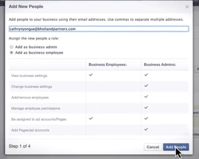 Hinzufügen von neuen Personen zu Seiten oder Anzeigenaccounts innerhalb des Tools