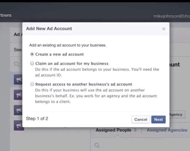 Einfaches erstellen eines Anzeigen-Accounts