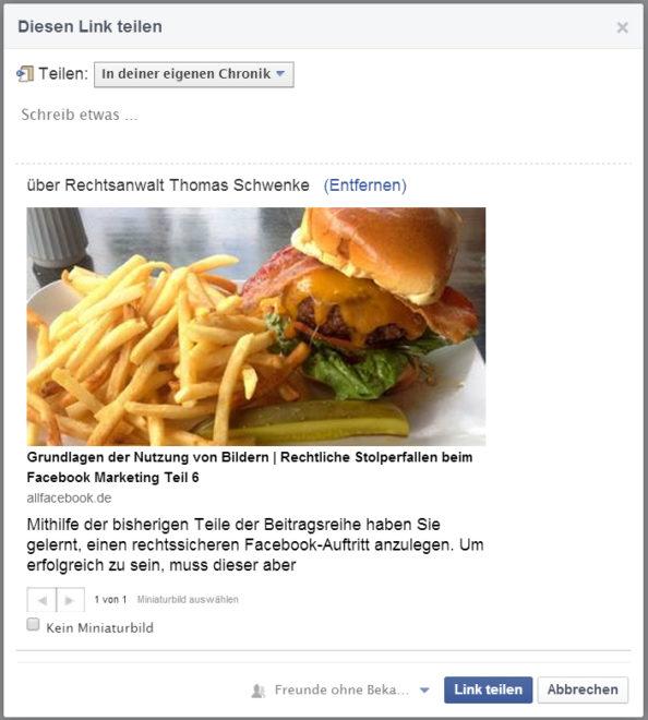 Fremde Bilder dürfen Sie nur im Rahmen der Sharing- und Embeddingfunktionen von Facebook nutzen. Darüber hinaus benötigen Sie eine Einwilligung der Urheber.