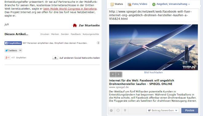 Sind auf Webseiten Sharing-Buttons zu sehen (Bild links), so heißt es dass der Webseitenbetreiber Ihnen die Erstellung von Vorschaubildern (Bild rechts) erlaubt. Zwar bietet dies keine absolute Sicherheit, senkt aber erheblich Ihr Risiko wegen des Vorschaubilds belangt zu werden.