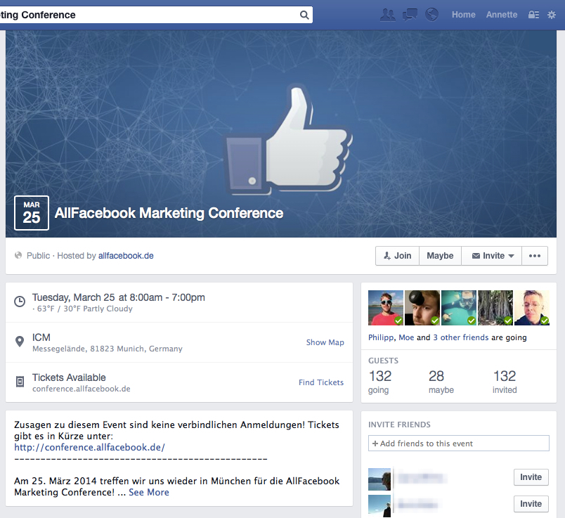 Neues Design für Facebook Events