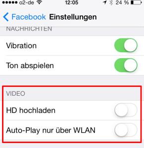 Ändern der Autoplay Funktion für Videos für Facebook auf dem iPhone