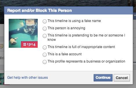 Facebook Nutzer melden (wegen Spam, Duplikat, o.ä.)
