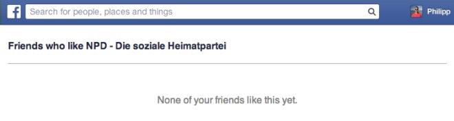 Screenshot: NPD Fans unter den eigenen Freunden.