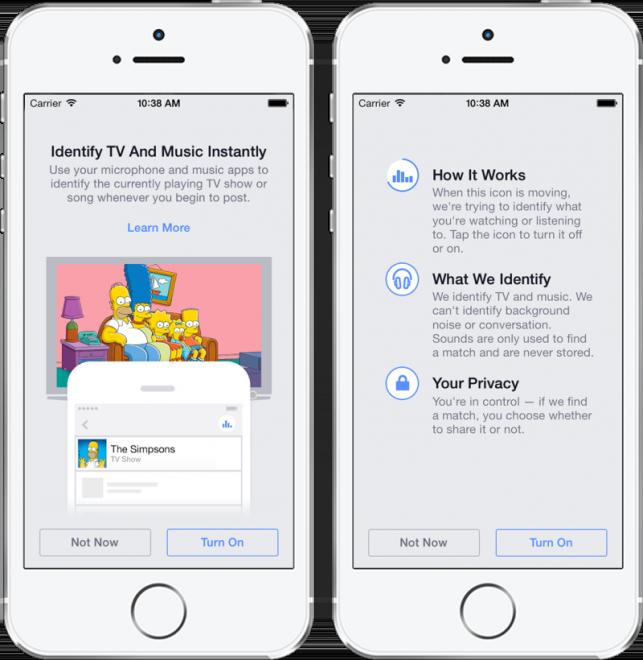 Aktivieren der automatischen Erkennung von Musik, Serien und Filmen auf Facebook