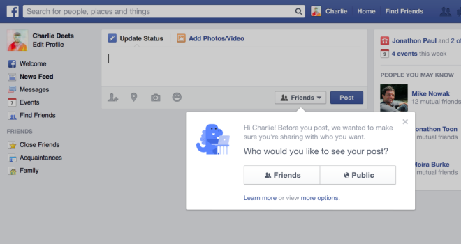 Privatssphäre beim Posten auf Facebook