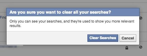 Bestätigung zur Löschen der Facebook Suchen
