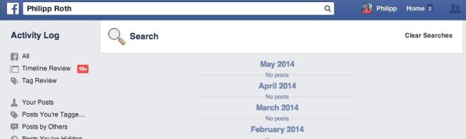 Leere Facebook Suchhistorie sollte so aussehen