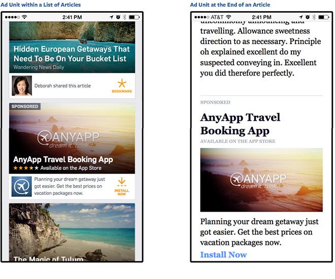 """Beispiele für """"Native Ads"""" im Facebook Audience Network"""