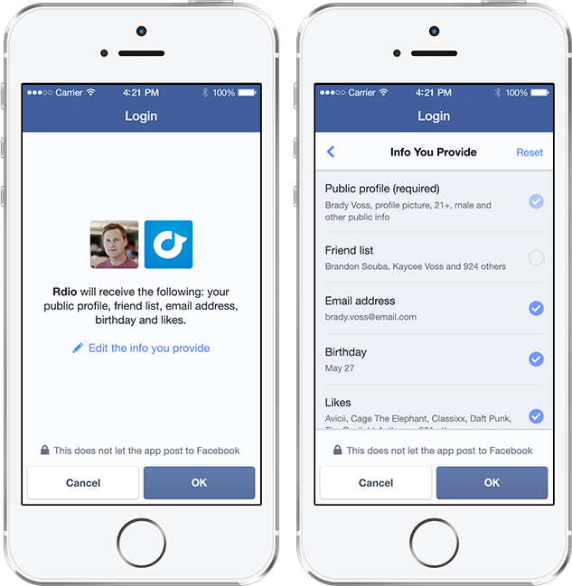 Screenshot neuer Facebook Login auf dem Smartphone