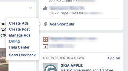 Insgesamt sind bisher sechs unterschiedliche Shortcuts für Facebook Anzeigen verfügbar