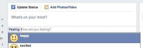 Statusupdate mit Smilie auf Facebook veröffentlichen