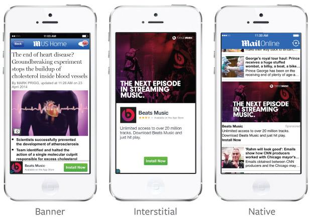 Die drei unterschiedlichen Werbeformate innerhalb des Werbenetzwerkes