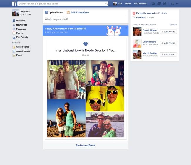 Neue Funktion: Facebook gratuliert zum Jahrestag