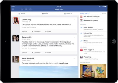 Die Facebook iPad App bekommt eine neue Seitenleiste