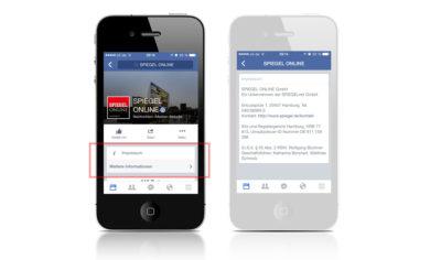 Facebook-Impressum wird nun auch auf mobilen Endgeräten angezeigt