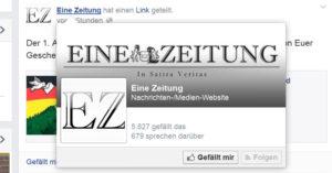 """Als (externe) Facebook-Seite eingeloggt: Fanzahl und """"sprechen darüber"""" sind sichtbar"""