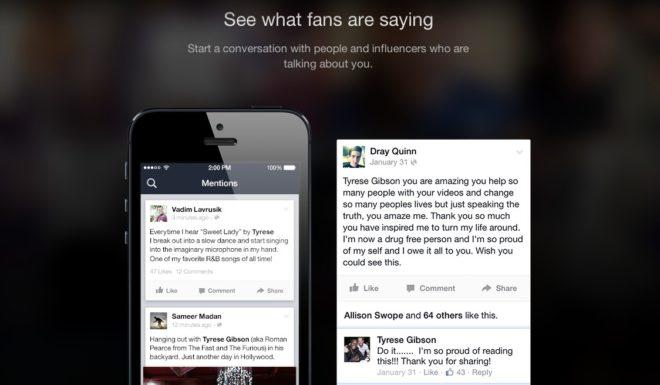 Screenshot: Facebook Mentions mobile app