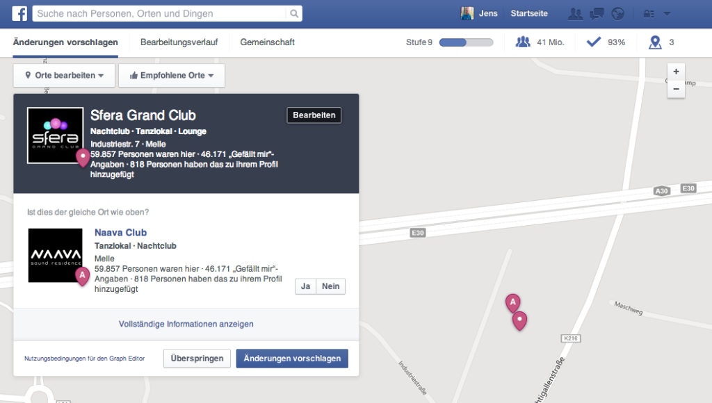 Facebook Places Editor mit neuem Design und mobiler Version