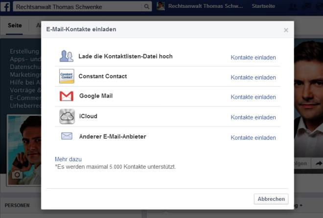 So praktisch der Kontaktimporter von Facebook ist, so gefährlich ist er rechtlich, wenn Sie fremde Nutzer ohne deren Einwilligung einladen.