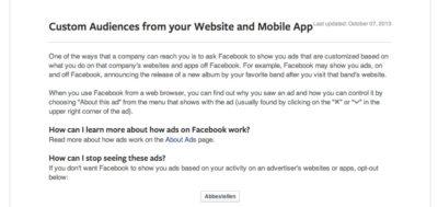 Wusstest du schon: Website Custom Audience Opt-Out