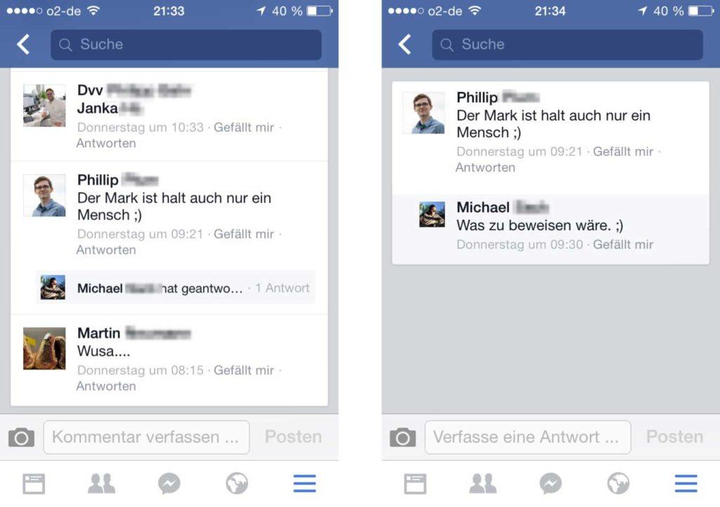 Verschachtelte Kommentare jetzt auch in der mobilen Version von Facebook