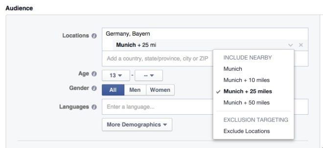 Targeting nach Standort des Facebook Nutzers