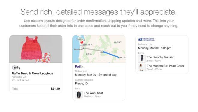Beispiele für Nachrichten von Unternehmen im Facebook Messenger