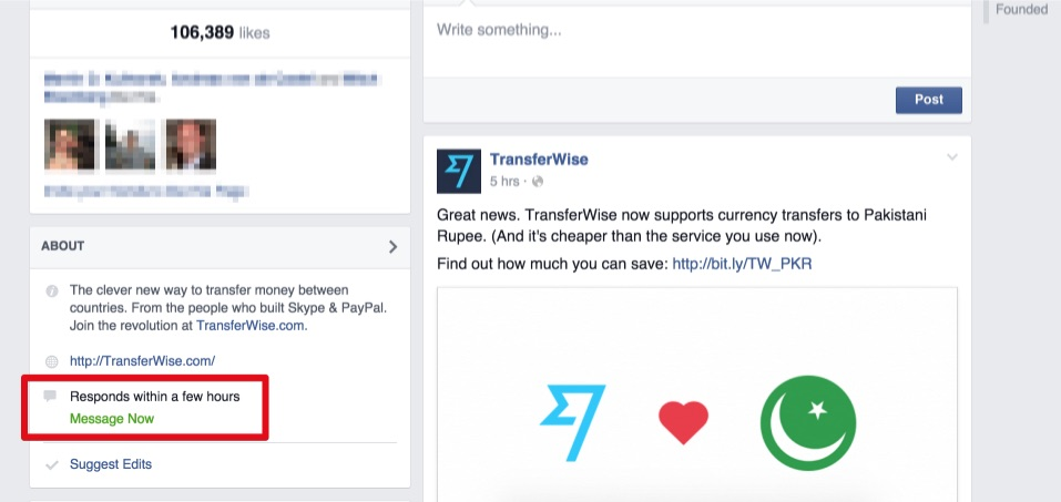 Das Service-Level ganz öffentlich: Facebook zeigt auf Seiten die Antwortgeschwindigkeit an