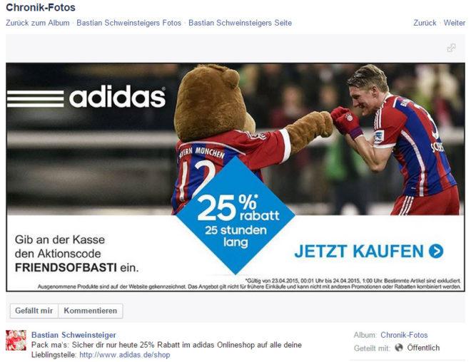 """Bei diesem <a href=""""https://www.facebook.com/AOKBayern/posts/907872402602894?comment_id=907880052602129&notif_t=page_tag"""">Bild von Bastian Schweinsteiger</a> ist der Werbecharakter hinreichend erkennbar. Eines Werbehinweises bedarf es nicht."""