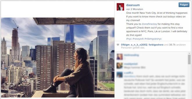 """Dieses <a href=""""https://instagram.com/p/1oGrfoOKn2/"""">Instagram-Posting</a> von Daaruum wirkt sehr privat. Sollte das Posting wirtschaftlich motiviert sein, dann wäre """"Thank you to @onefinestay"""" als Werbehinweis nicht ausreichend."""