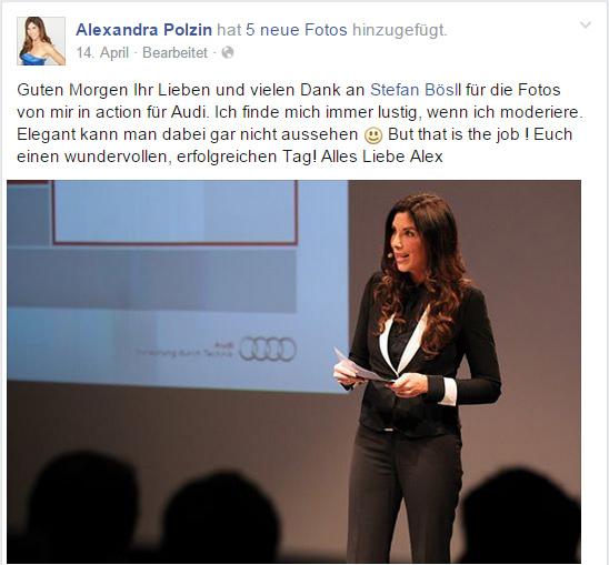"""Wenn z.B. Moderatoren von deren Tätigkeiten berichten (wie hier <a href=""""https://www.facebook.com/pages/Alexandra-Polzin/105808228320"""">Alexandra Polzin für Audi</a>), entsteht dabei oft eine Werbewirkung. Jedoch ist es keine Schleichwerbung, wenn es für die Nutzer erkennbar ist, dass es ein Teil des Jobs oder eines Auftrags ist."""