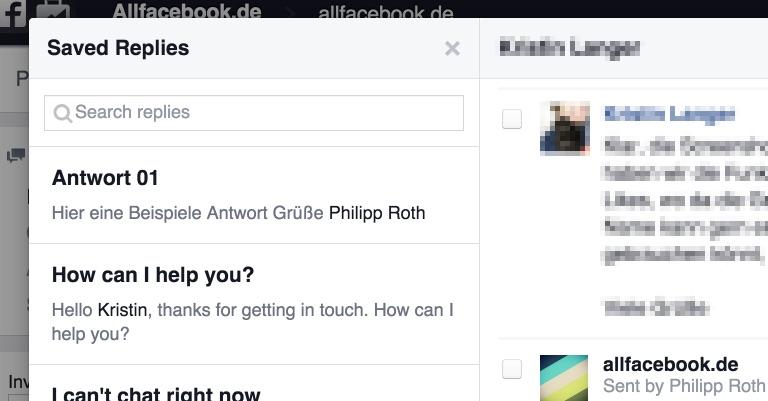 Facebook erleichtert mit vordefinierbaren Antworten für Direktnachrichten das Community Management