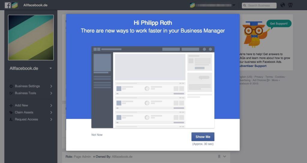 Business Manager Redesign: Einführung in die neue Homepage und neue Navigation