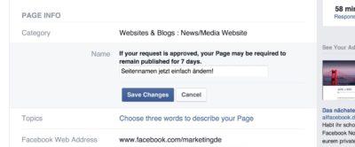 Ab sofort ganz einfach: Facebook Seite umbenennen