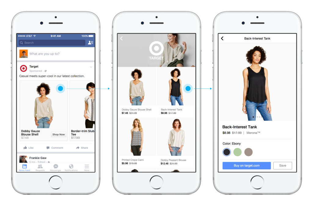 Facebook Mobile Commerce Push: verkaufen direkt aus Anzeigen im Newsfeed, Shops für Seiten und eine eigene Shop-Sektion auf Facebook