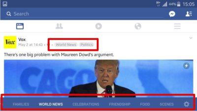 Facebook Themen Newsfeeds – Neuer Test mit verschieden personalisierte Newsfeeds wie Sport, Politik, Essen, Fitness, Haustiere …