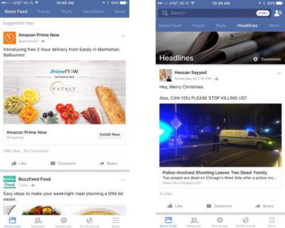 Facebook als Nachrichtenzentrale mit verschiedenen Newsfeeds