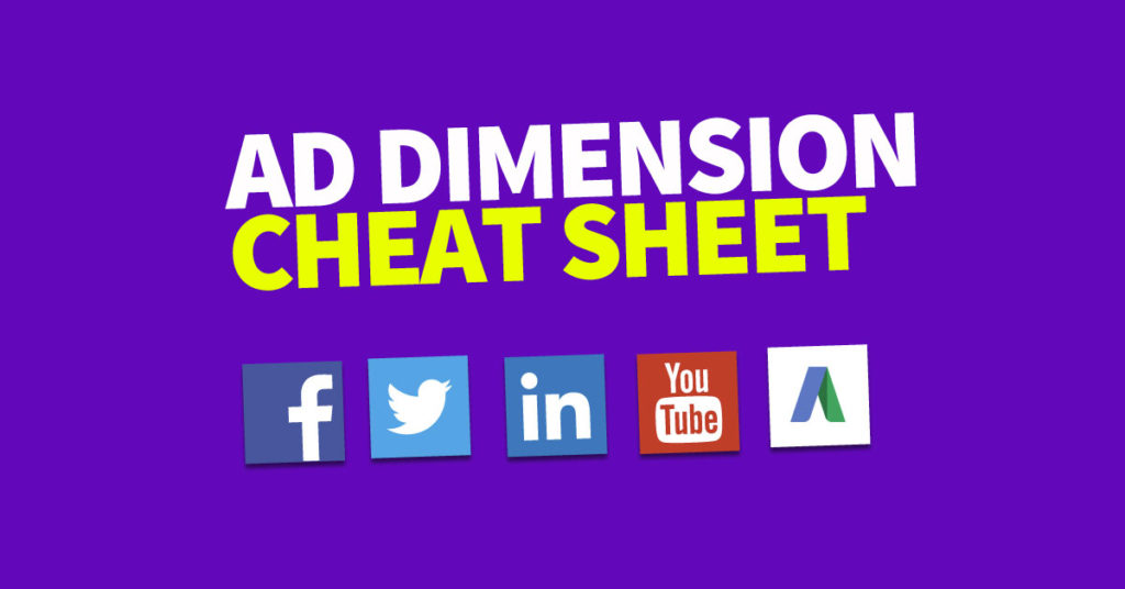 Anzeigenspezifikationen für Facebook, Twitter, Youtube, LinkedIn und AdWords in einer Infografik