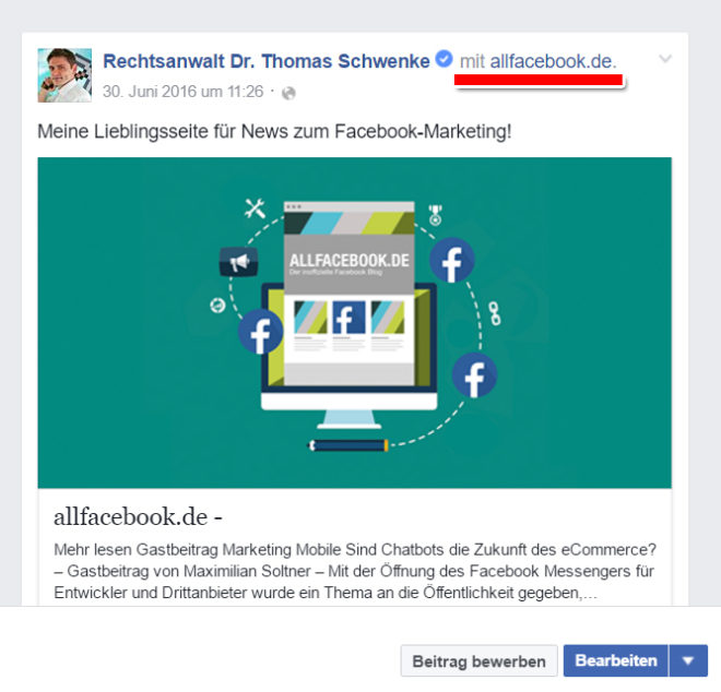 Derartige Form des Branded Content ist laut Facebook-Regeln zulässig, da hier der gesamte Beitrag einen fremden Markeninhalt darstellt und von meinen übrigen Inhalten abgegrenzt ist.