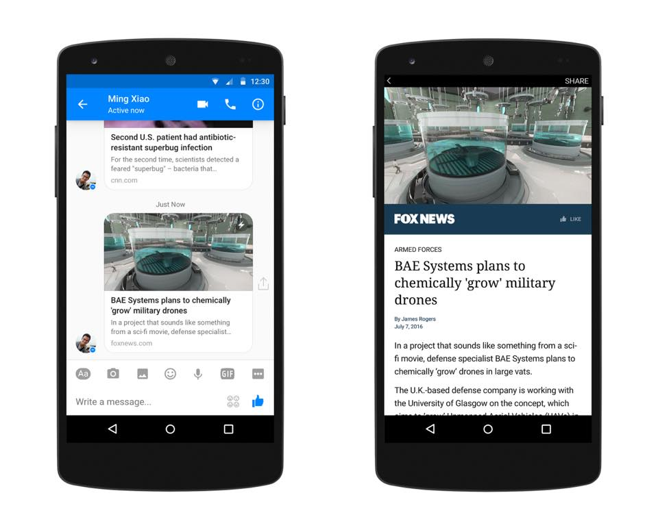 Facebook bringt Instant Articles in den Messenger