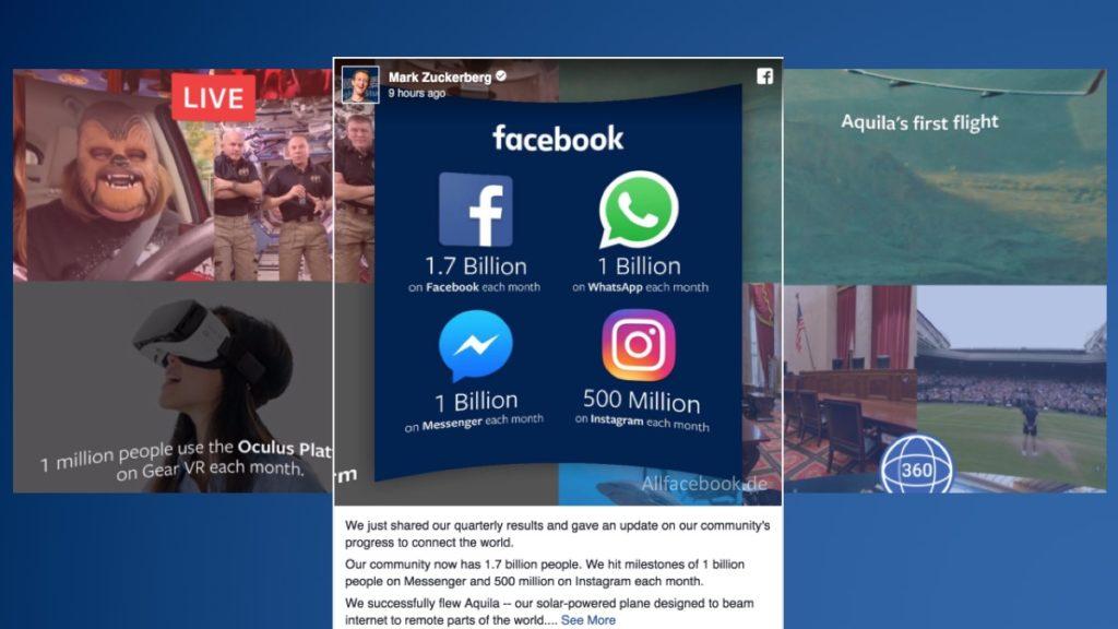 Offizielle Facebook Nutzerzahlen für das zweite Quartal 2016 – 1.7 Mrd. aktive Nutzer davon 1 Mrd. Mobil