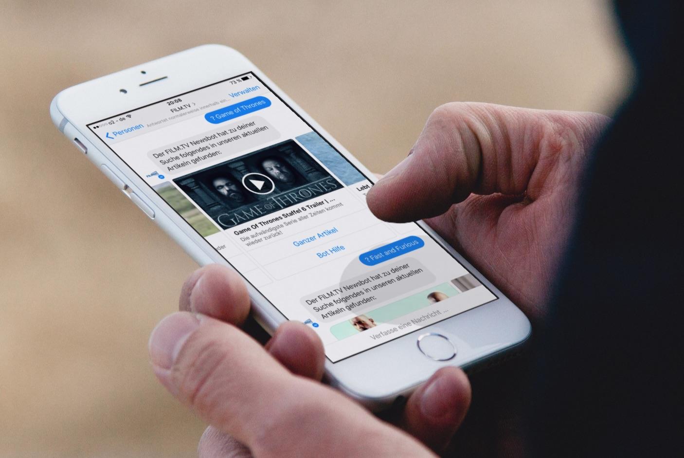 FILM.TV mit einem Bot zur Unterhaltung der Nutzer
