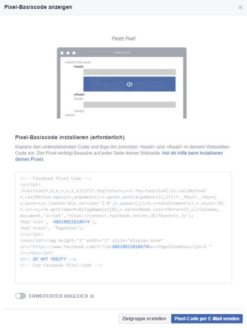 """""""Custom Audiences form Website"""" setzen die Einbindung eines Tracking Codes voraus."""