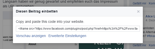 Die verschärfte Linkhaftung gilt auch, wenn Sie Inhalte, wie z.B. Facebook-Beiträge in Ihre Website einbetten und diese Bilder enthalten, welche ohne Willen der Urheber hochgeladen wurden.