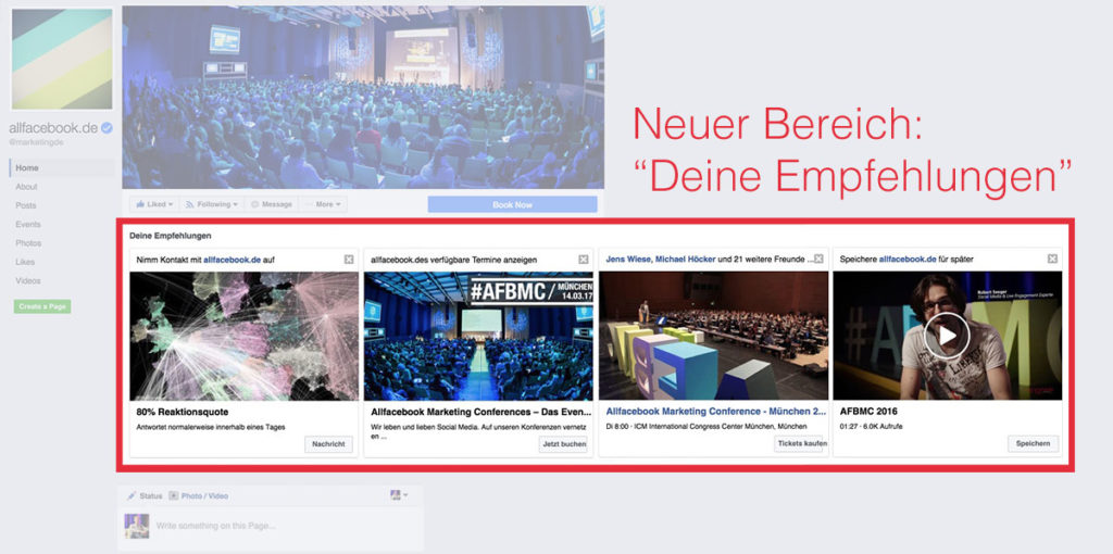 """""""Deine Empfehlungen"""" – Facebook Seiten mit neuem personalisiertem Bereich für die Fans"""