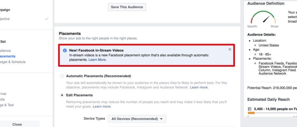 Placement: In-Stream-Video Ads auf Facebook schalten