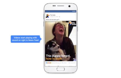 Facebook Auto Play Videos bald mit Ton und weitere Neuerungen