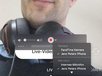 In Quicktime kann neben dem Aufnahmeknopf die Eingangsquelle für Bild und Ton ausgewählt werden.